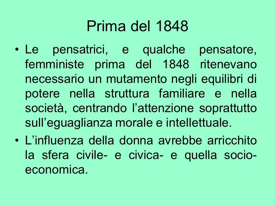 Prima del 1848 Le pensatrici, e qualche pensatore, femministe prima del 1848 ritenevano necessario un mutamento negli equilibri di potere nella strutt