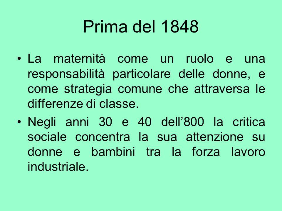 Prima del 1848 La maternità come un ruolo e una responsabilità particolare delle donne, e come strategia comune che attraversa le differenze di classe
