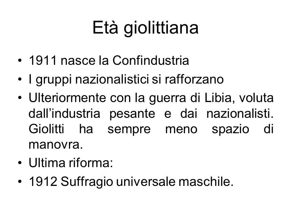 Età giolittiana 1911 nasce la Confindustria I gruppi nazionalistici si rafforzano Ulteriormente con la guerra di Libia, voluta dallindustria pesante e