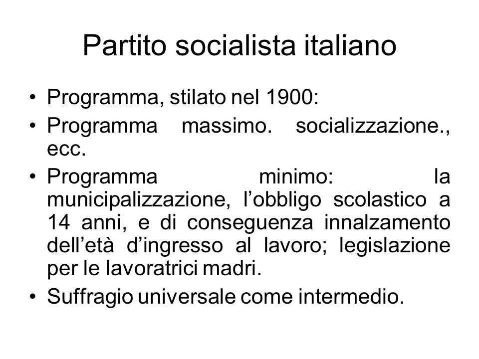 Partito socialista italiano Programma, stilato nel 1900: Programma massimo. socializzazione., ecc. Programma minimo: la municipalizzazione, lobbligo s