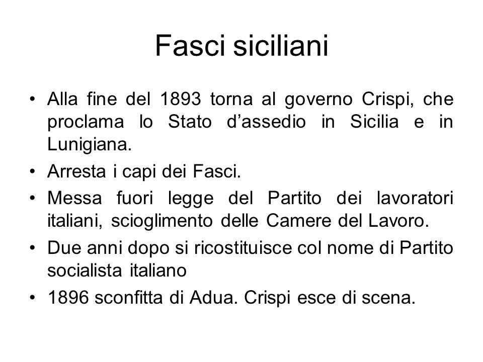 Fasci siciliani Alla fine del 1893 torna al governo Crispi, che proclama lo Stato dassedio in Sicilia e in Lunigiana. Arresta i capi dei Fasci. Messa