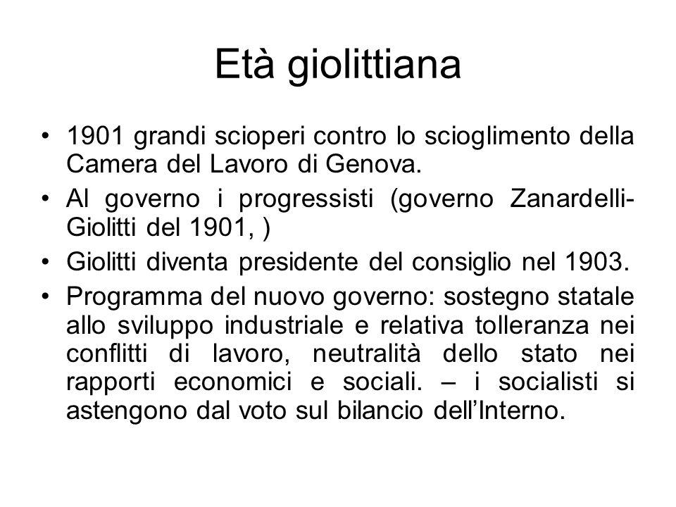 Età giolittiana 1901 grandi scioperi contro lo scioglimento della Camera del Lavoro di Genova. Al governo i progressisti (governo Zanardelli- Giolitti