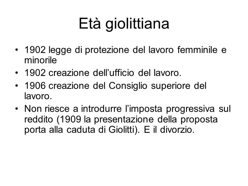 Età giolittiana 1902 legge di protezione del lavoro femminile e minorile 1902 creazione dellufficio del lavoro. 1906 creazione del Consiglio superiore