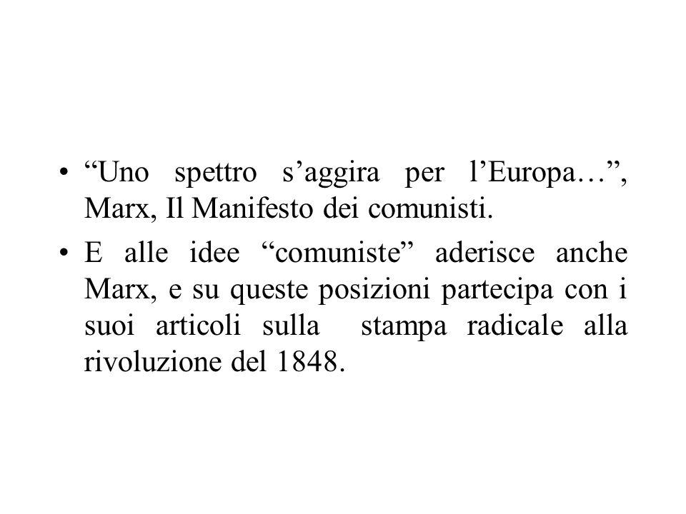 Uno spettro saggira per lEuropa…, Marx, Il Manifesto dei comunisti. E alle idee comuniste aderisce anche Marx, e su queste posizioni partecipa con i s