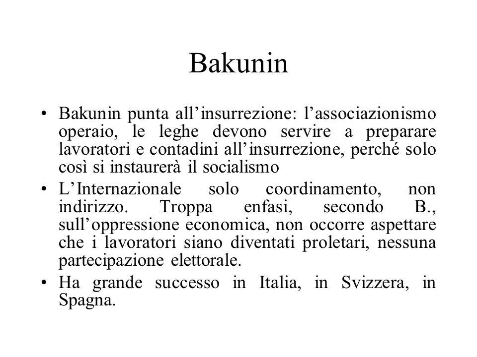 Bakunin Bakunin punta allinsurrezione: lassociazionismo operaio, le leghe devono servire a preparare lavoratori e contadini allinsurrezione, perché so
