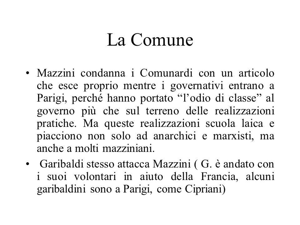 La Comune Mazzini condanna i Comunardi con un articolo che esce proprio mentre i governativi entrano a Parigi, perché hanno portato lodio di classe al