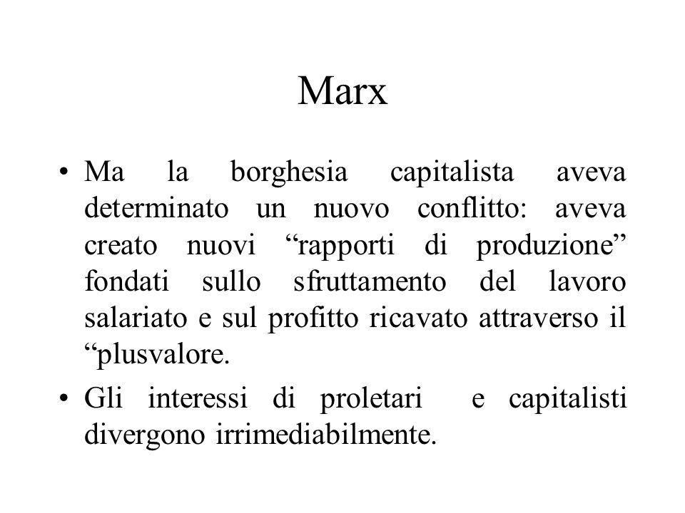 Marx Ma la borghesia capitalista aveva determinato un nuovo conflitto: aveva creato nuovi rapporti di produzione fondati sullo sfruttamento del lavoro