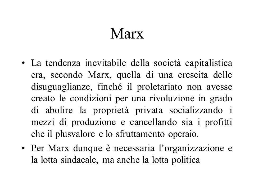 Marx La tendenza inevitabile della società capitalistica era, secondo Marx, quella di una crescita delle disuguaglianze, finché il proletariato non av