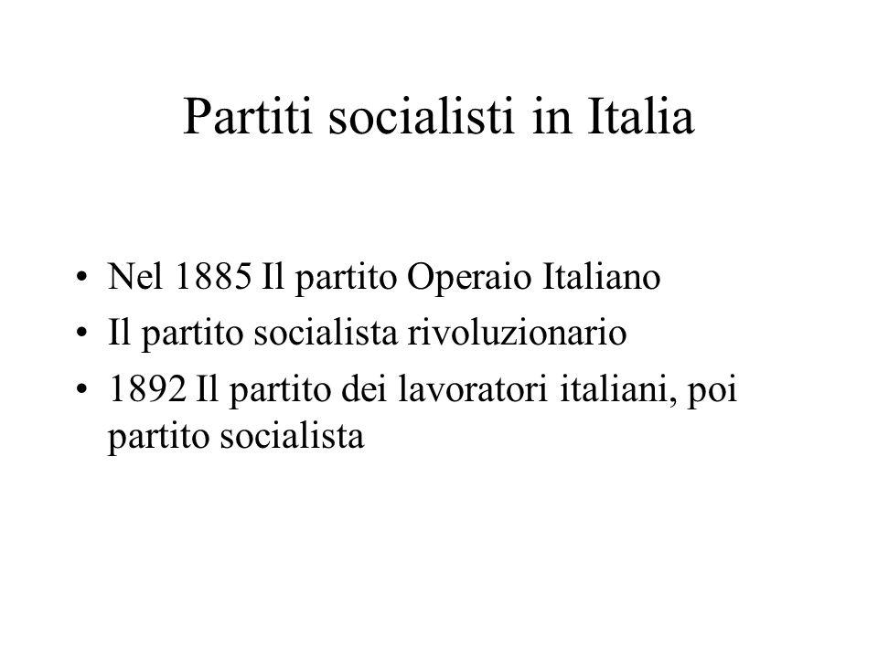 Partiti socialisti in Italia Nel 1885 Il partito Operaio Italiano Il partito socialista rivoluzionario 1892 Il partito dei lavoratori italiani, poi pa
