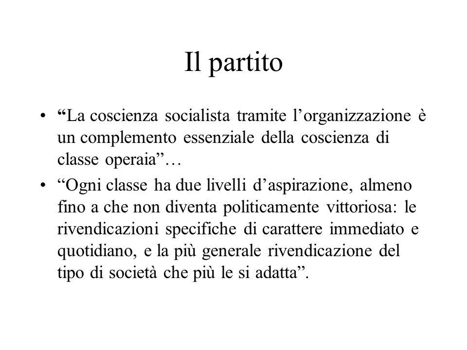 Il partito La coscienza socialista tramite lorganizzazione è un complemento essenziale della coscienza di classe operaia… Ogni classe ha due livelli d
