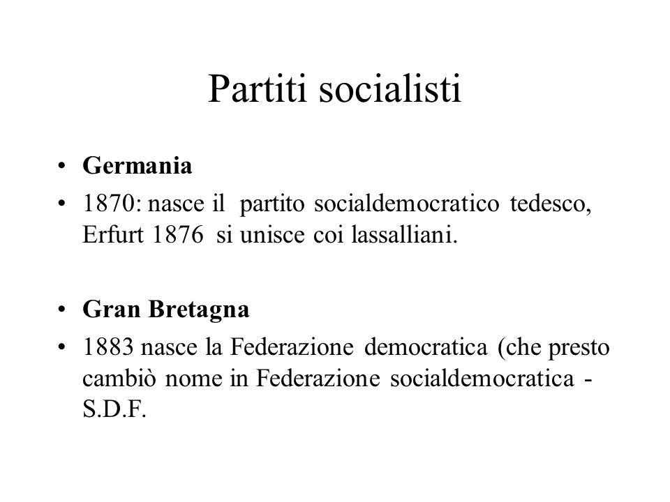 Partiti socialisti Germania 1870: nasce il partito socialdemocratico tedesco, Erfurt 1876 si unisce coi lassalliani. Gran Bretagna 1883 nasce la Feder