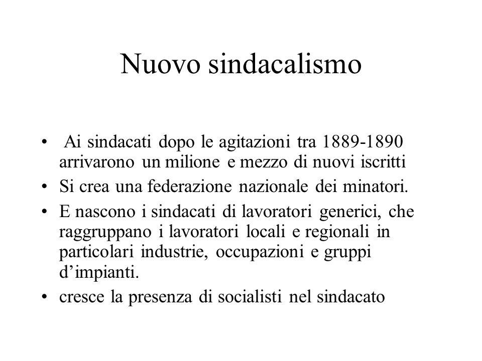 Nuovo sindacalismo Ai sindacati dopo le agitazioni tra 1889-1890 arrivarono un milione e mezzo di nuovi iscritti Si crea una federazione nazionale dei
