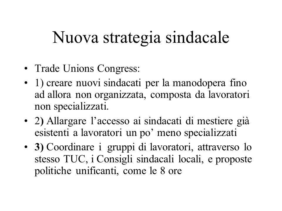 Nuova strategia sindacale Trade Unions Congress: 1) creare nuovi sindacati per la manodopera fino ad allora non organizzata, composta da lavoratori no