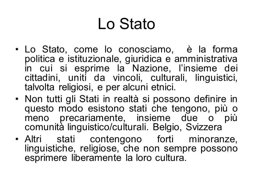Lo Stato Lo Stato, come lo conosciamo, è la forma politica e istituzionale, giuridica e amministrativa in cui si esprime la Nazione, linsieme dei citt