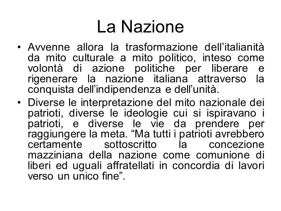La Nazione Avvenne allora la trasformazione dellitalianità da mito culturale a mito politico, inteso come volontà di azione politiche per liberare e r