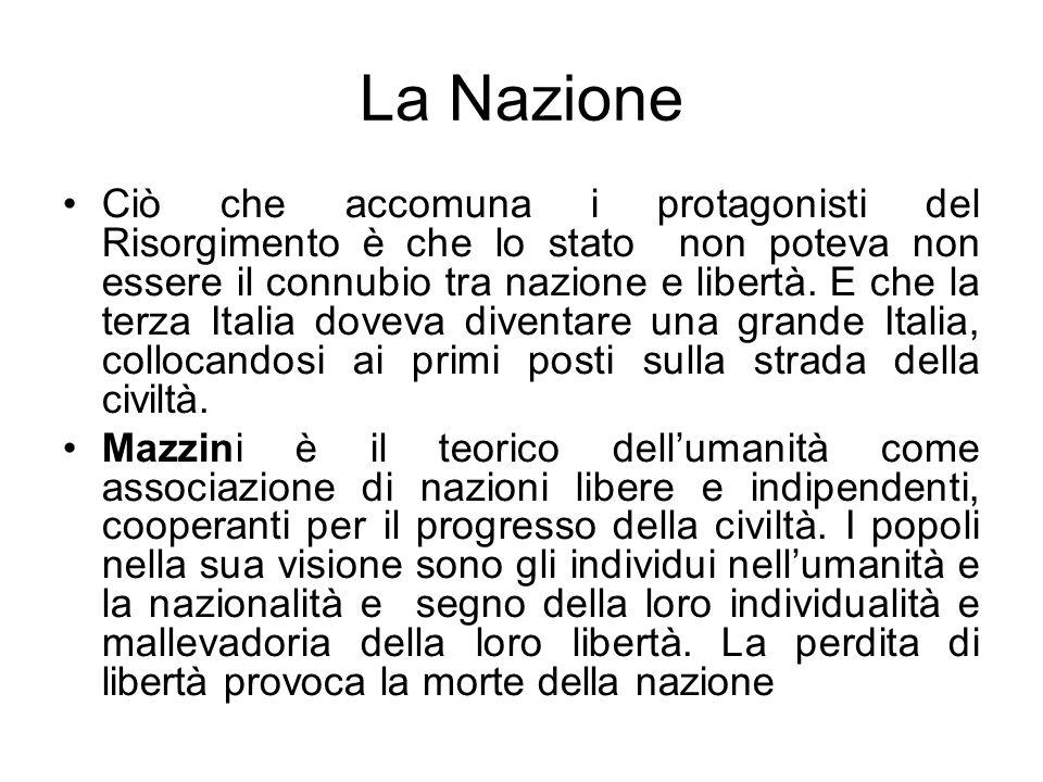 La Nazione Ciò che accomuna i protagonisti del Risorgimento è che lo stato non poteva non essere il connubio tra nazione e libertà. E che la terza Ita