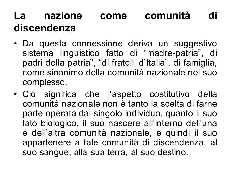 La nazione come comunità di discendenza Da questa connessione deriva un suggestivo sistema linguistico fatto di madre-patria, di padri della patria, d