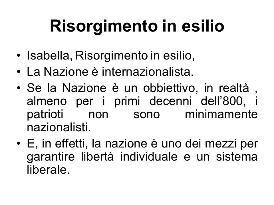 Risorgimento in esilio Isabella, Risorgimento in esilio, La Nazione è internazionalista. Se la Nazione è un obbiettivo, in realtà, almeno per i primi