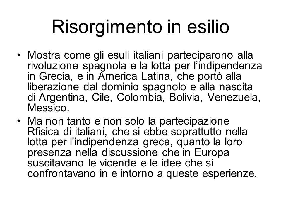 Risorgimento in esilio Mostra come gli esuli italiani parteciparono alla rivoluzione spagnola e la lotta per lindipendenza in Grecia, e in America Lat