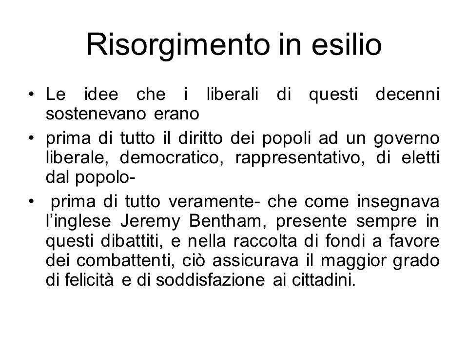 Risorgimento in esilio Le idee che i liberali di questi decenni sostenevano erano prima di tutto il diritto dei popoli ad un governo liberale, democra