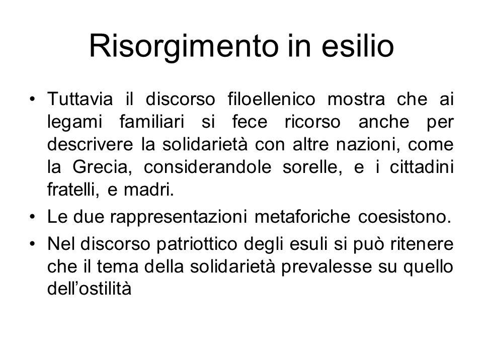 Risorgimento in esilio Tuttavia il discorso filoellenico mostra che ai legami familiari si fece ricorso anche per descrivere la solidarietà con altre