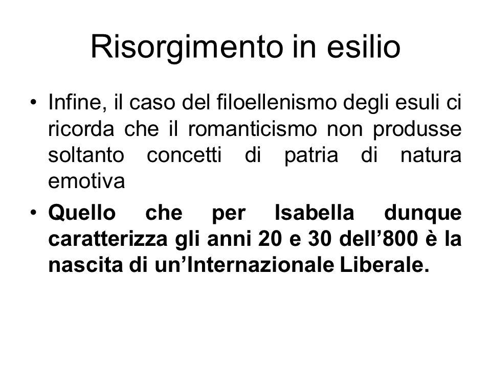 Risorgimento in esilio Infine, il caso del filoellenismo degli esuli ci ricorda che il romanticismo non produsse soltanto concetti di patria di natura