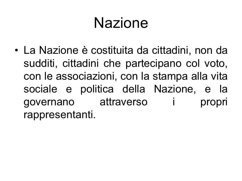 Nazione La Nazione è costituita da cittadini, non da sudditi, cittadini che partecipano col voto, con le associazioni, con la stampa alla vita sociale
