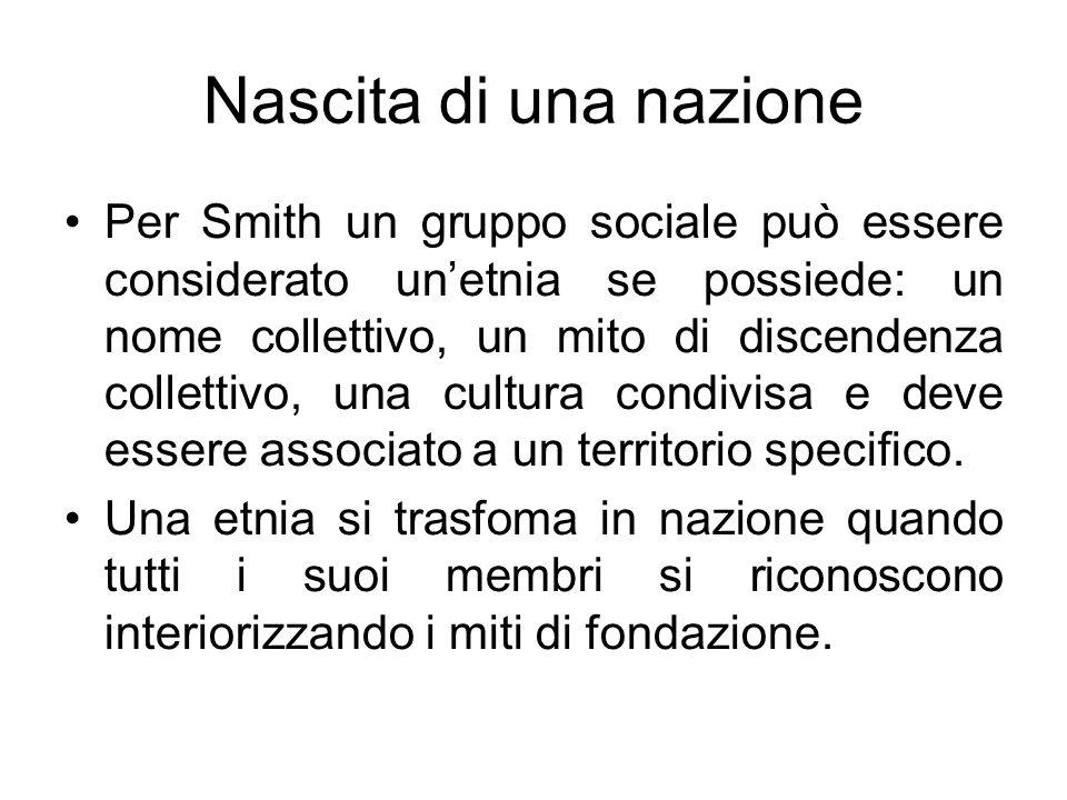 Nascita di una nazione Per Smith un gruppo sociale può essere considerato unetnia se possiede: un nome collettivo, un mito di discendenza collettivo,