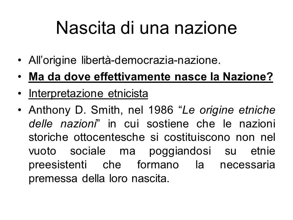 Nascita di una nazione Allorigine libertà-democrazia-nazione. Ma da dove effettivamente nasce la Nazione? Interpretazione etnicista Anthony D. Smith,