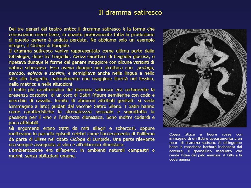 Il dramma satiresco Dei tre generi del teatro antico il dramma satiresco è la forma che conosciamo meno bene, in quanto praticamente tutta la produzio