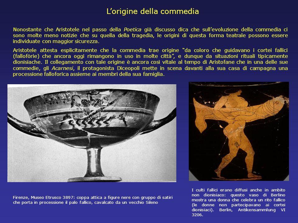 Lorigine della commedia Nonostante che Aristotele nel passo della Poetica già discusso dica che sullevoluzione della commedia ci sono molte meno notiz