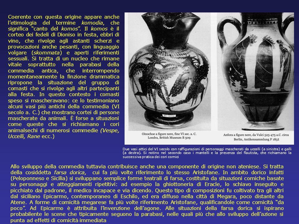 Coerente con questa origine appare anche letimologia del termine komodia, che significa canto del komos. Il komos è il corteo dei fedeli di Dioniso in