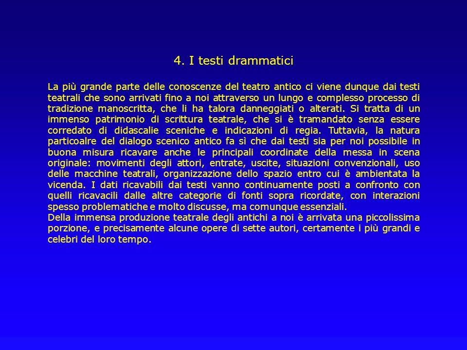 4. I testi drammatici La più grande parte delle conoscenze del teatro antico ci viene dunque dai testi teatrali che sono arrivati fino a noi attravers