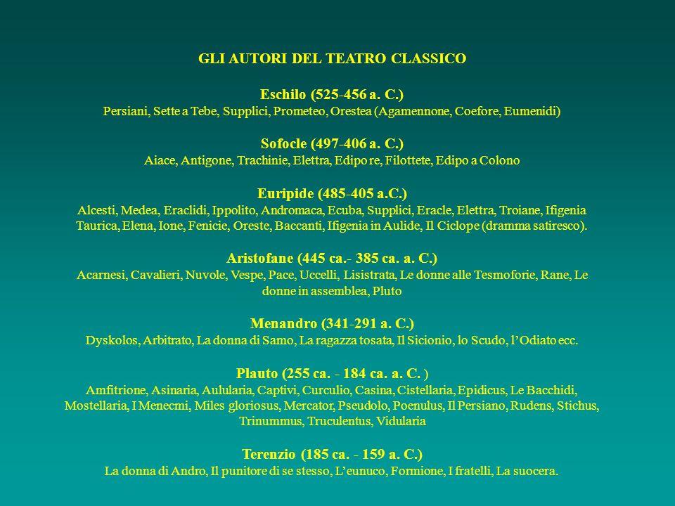 GLI AUTORI DEL TEATRO CLASSICO Eschilo (525-456 a. C.) Persiani, Sette a Tebe, Supplici, Prometeo, Orestea (Agamennone, Coefore, Eumenidi) Sofocle (49