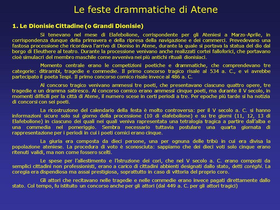 Le feste drammatiche di Atene 1. Le Dionisie Cittadine (o Grandi Dionisie) Si tenevano nel mese di Elafebolione, corrispondente per gli Ateniesi a Mar