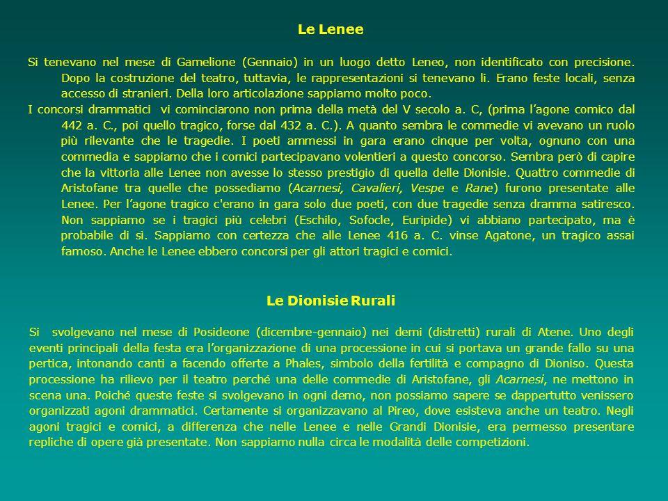 Le Lenee Si tenevano nel mese di Gamelione (Gennaio) in un luogo detto Leneo, non identificato con precisione. Dopo la costruzione del teatro, tuttavi