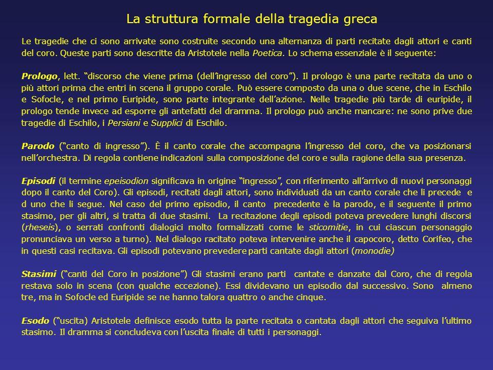 La struttura formale della tragedia greca Le tragedie che ci sono arrivate sono costruite secondo una alternanza di parti recitate dagli attori e cant