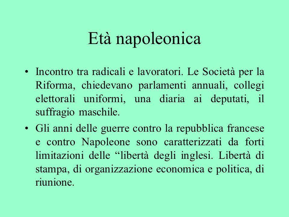 Età napoleonica Incontro tra radicali e lavoratori. Le Società per la Riforma, chiedevano parlamenti annuali, collegi elettorali uniformi, una diaria