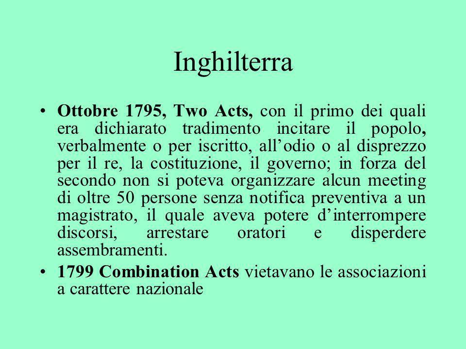 Inghilterra Ottobre 1795, Two Acts, con il primo dei quali era dichiarato tradimento incitare il popolo, verbalmente o per iscritto, allodio o al disp