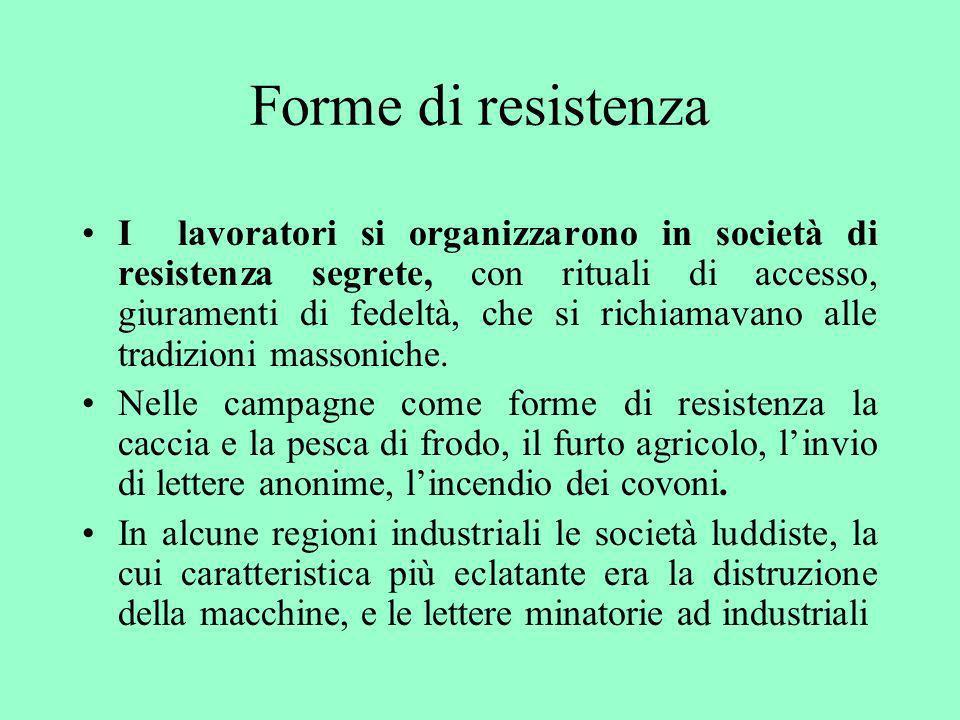 Forme di resistenza I lavoratori si organizzarono in società di resistenza segrete, con rituali di accesso, giuramenti di fedeltà, che si richiamavano