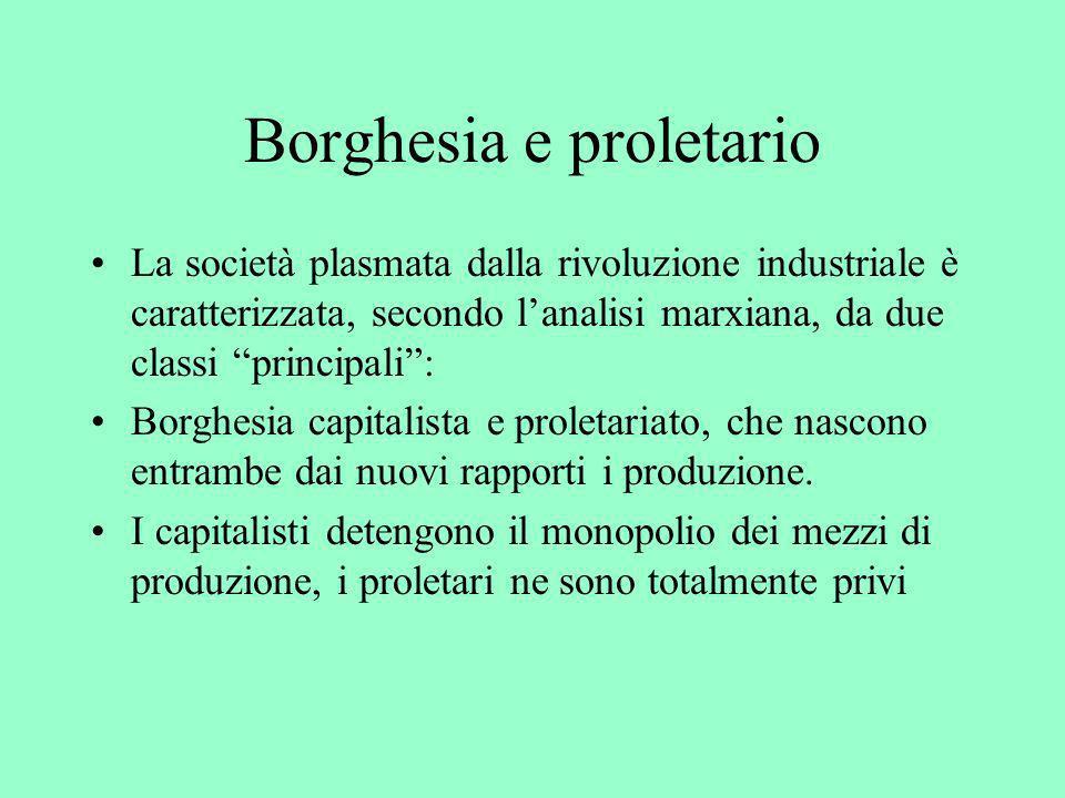 Borghesia e proletario La società plasmata dalla rivoluzione industriale è caratterizzata, secondo lanalisi marxiana, da due classi principali: Borghe