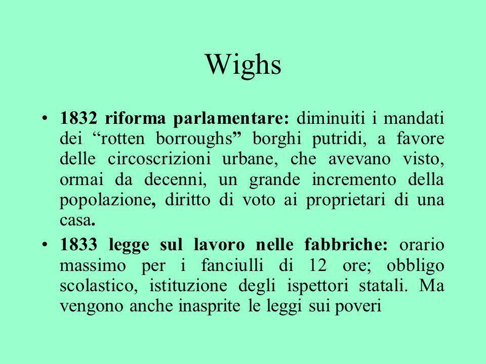Wighs 1832 riforma parlamentare: diminuiti i mandati dei rotten borroughs borghi putridi, a favore delle circoscrizioni urbane, che avevano visto, orm