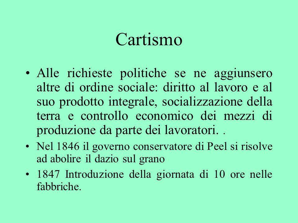 Cartismo Alle richieste politiche se ne aggiunsero altre di ordine sociale: diritto al lavoro e al suo prodotto integrale, socializzazione della terra