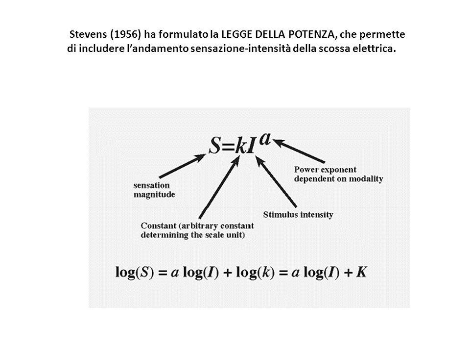 Stevens (1956) ha formulato la LEGGE DELLA POTENZA, che permette di includere landamento sensazione-intensità della scossa elettrica.