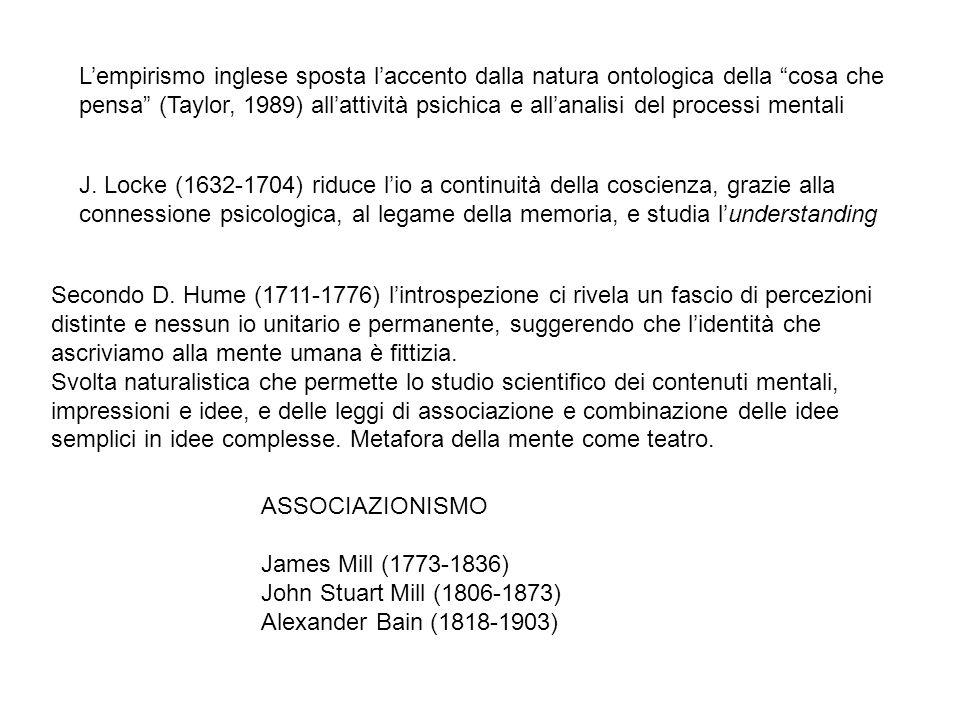 J. Locke (1632-1704) riduce lio a continuità della coscienza, grazie alla connessione psicologica, al legame della memoria, e studia lunderstanding Se