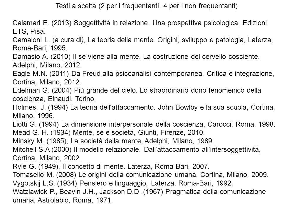 Testi a scelta (2 per i frequentanti, 4 per i non frequentanti) Calamari E. (2013) Soggettività in relazione. Una prospettiva psicologica, Edizioni ET