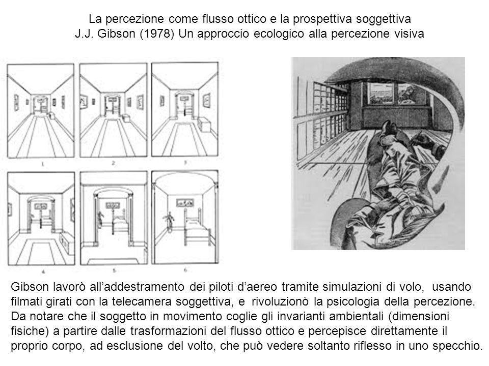 La percezione come flusso ottico e la prospettiva soggettiva J.J. Gibson (1978) Un approccio ecologico alla percezione visiva Gibson lavorò alladdestr