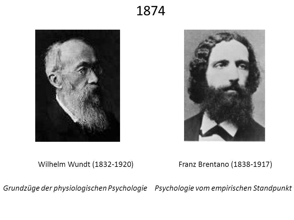 Franz Brentano (1838-1917)Wilhelm Wundt (1832-1920) Grundzüge der physiologischen PsychologiePsychologie vom empirischen Standpunkt 1874