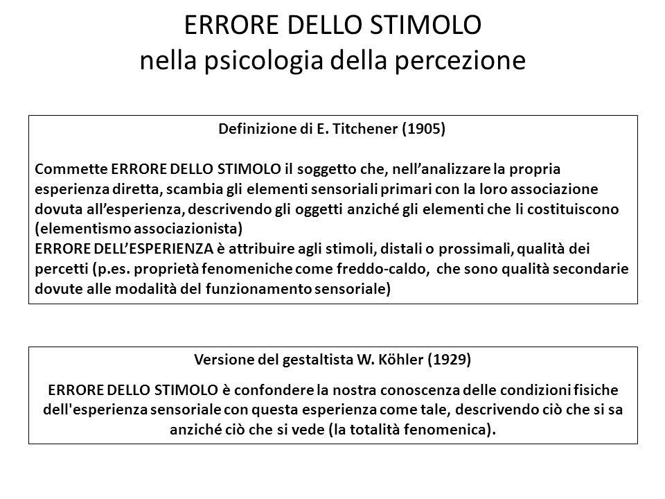 ERRORE DELLO STIMOLO nella psicologia della percezione Definizione di E. Titchener (1905) Commette ERRORE DELLO STIMOLO il soggetto che, nellanalizzar