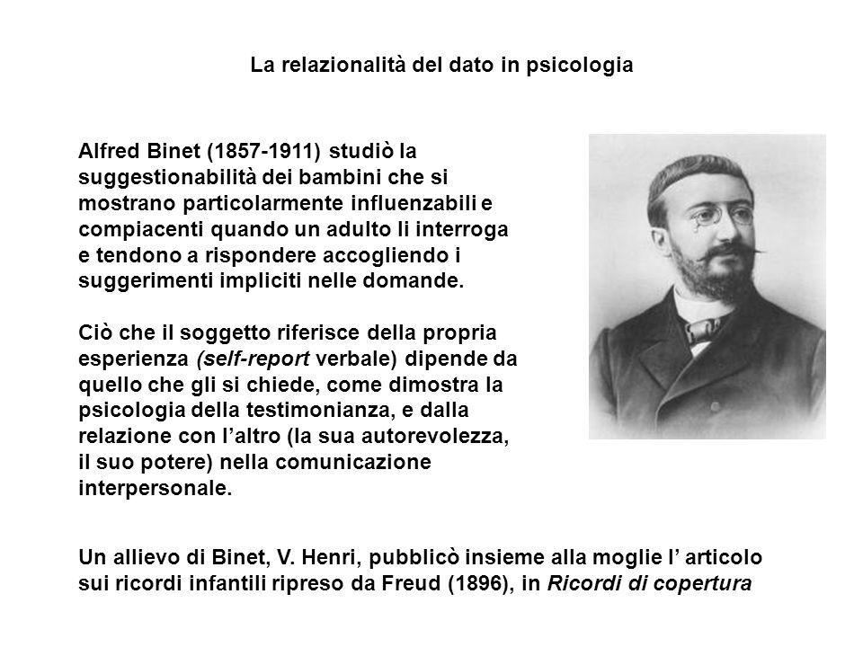 Un allievo di Binet, V. Henri, pubblicò insieme alla moglie l articolo sui ricordi infantili ripreso da Freud (1896), in Ricordi di copertura Alfred B